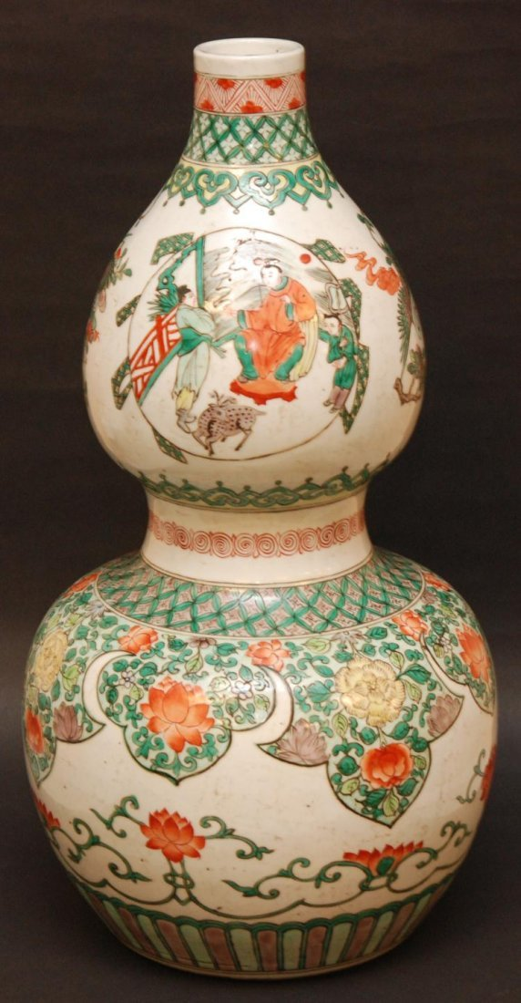 158: 19th C CHINESE HULU GOURD SHAPED WUCAI VASE
