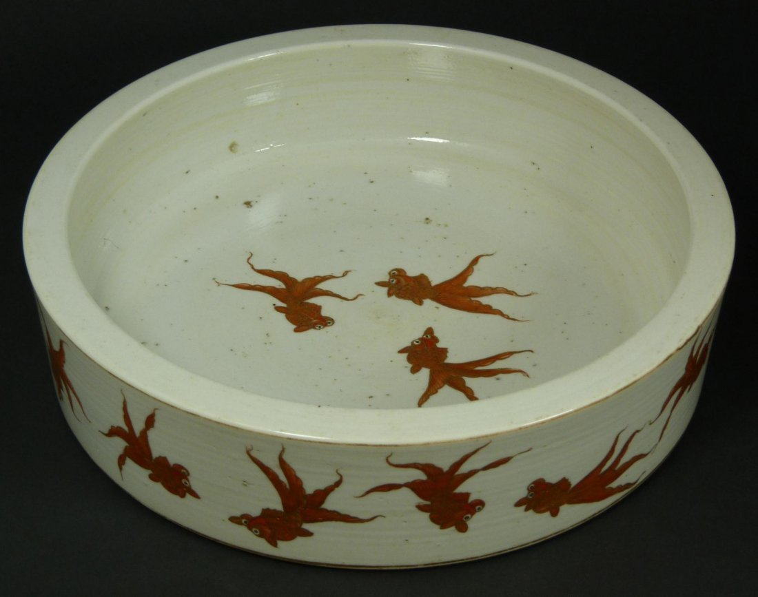 159: 19th C CHINESE DAOGUANG PORCELAIN KOI FISH BOWL