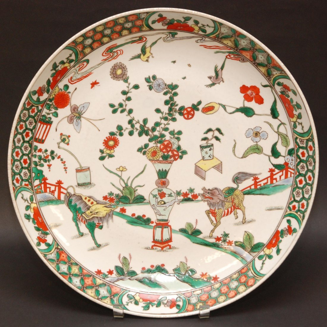 160: 19th C CHINESE PORCELAIN WUCAI NIAN CHARGER