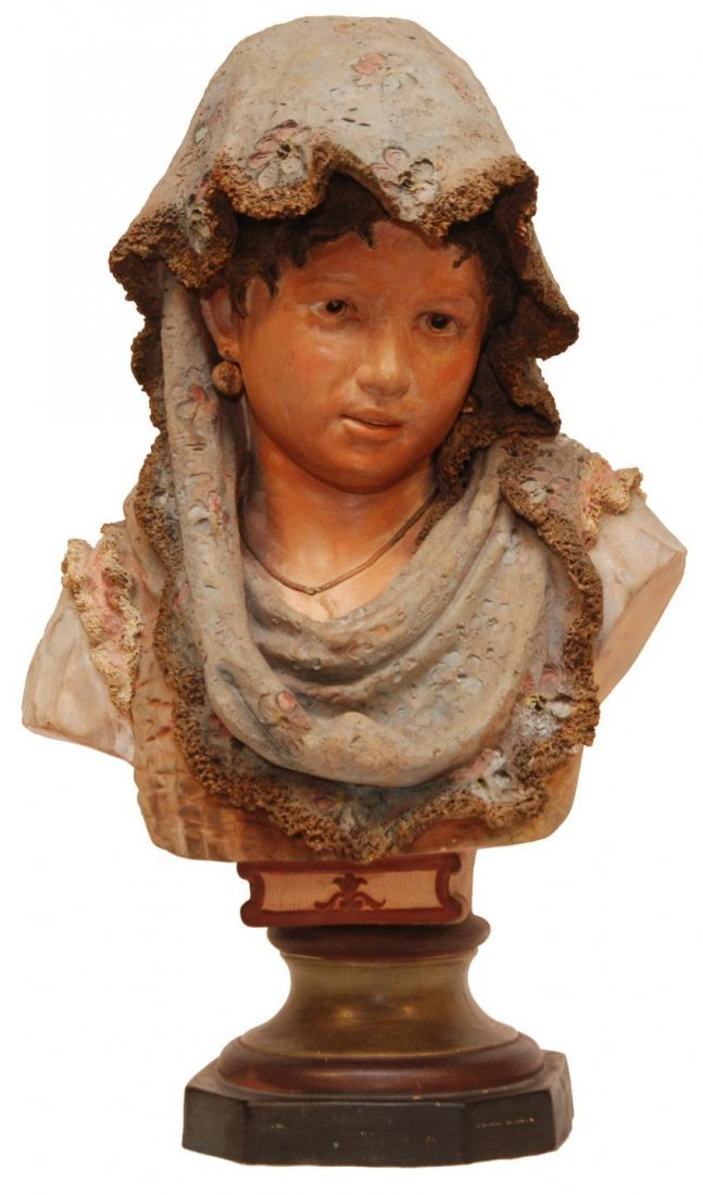 164: TERRA COTTA YOUNG GIRL w. SCARF BUST