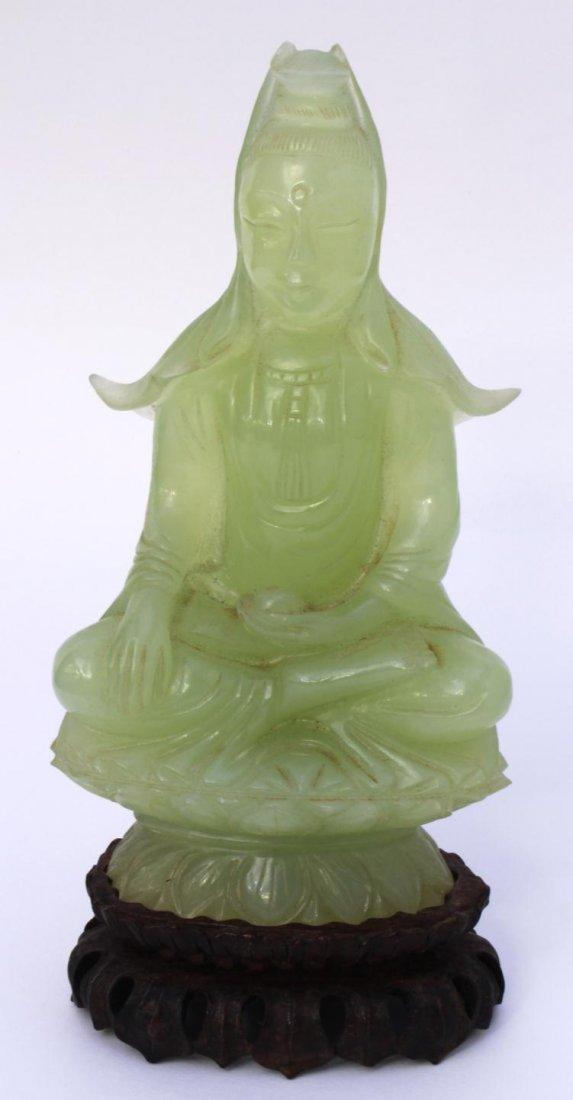 252: CHINESE SERPENTINE JADE GUAN YIN FIGURE