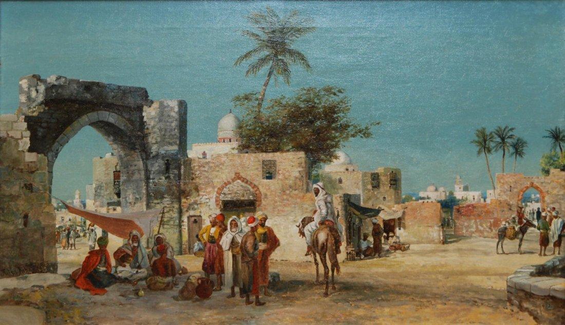 62: JULES RIBARD OIL ON CANVAS OF ARABIAN CITY SCENE