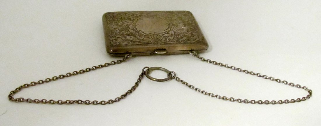 147: BATTIN STERLING SILVER CIGARETTE CASE WITH CHAIN