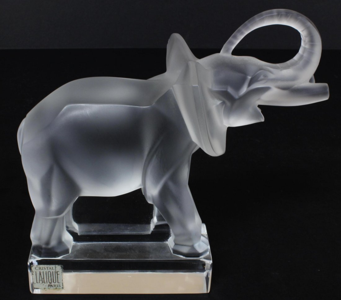 282: LALIQUE FRENCH CRYSTAL ELEPHANT FIGURE