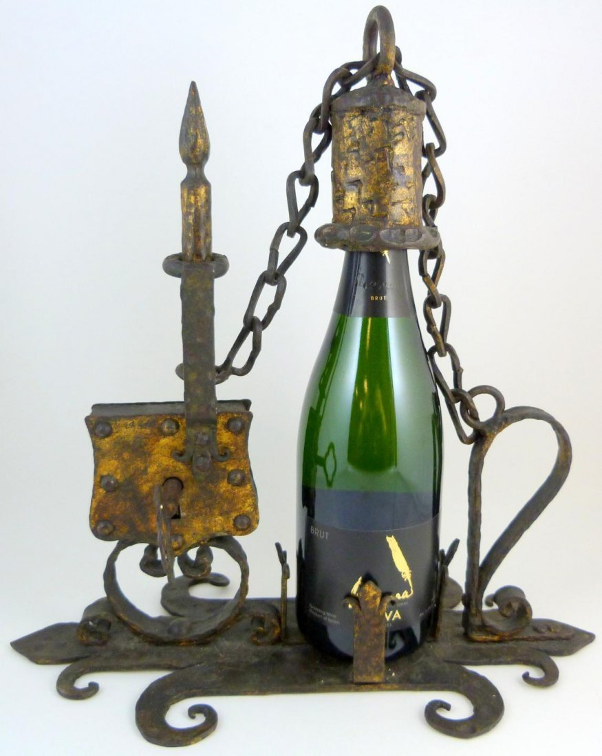 9: 17th C SPANISH IRON BOTTLE SAFE TANTALUS
