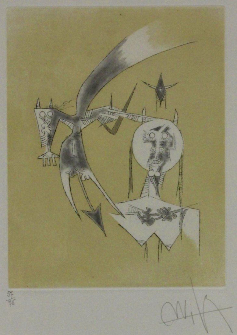 72: WILFREDO LAM COLOR ETCHING AND AQUATINT 1975