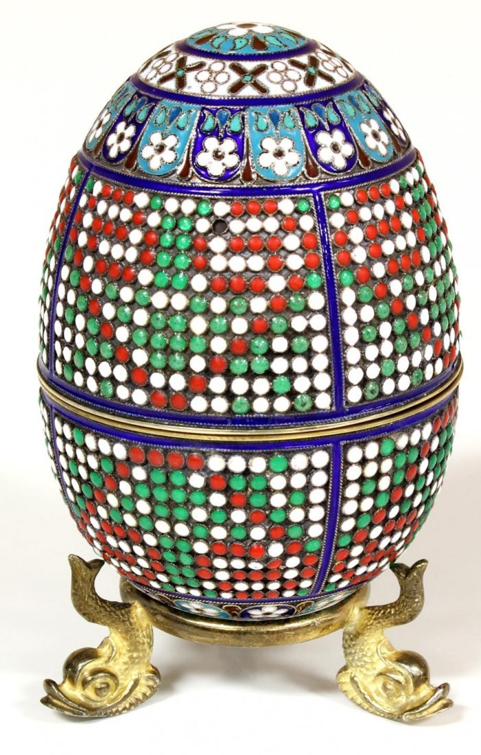 15: RUSSIAN SILVER ENAMELED EGG