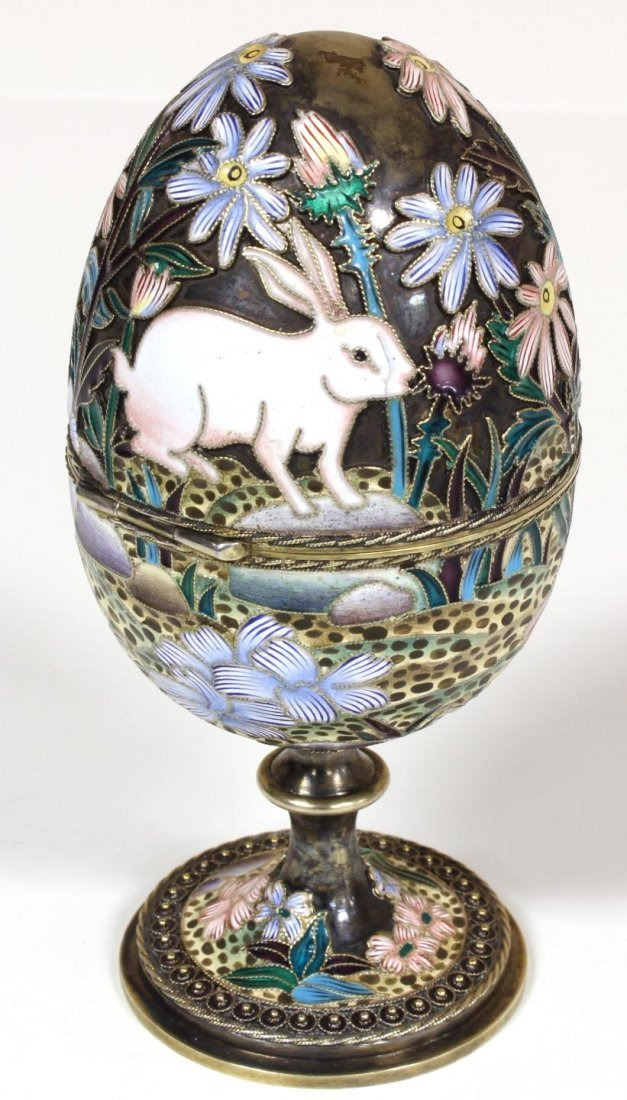 21: RUSSIAN SILVER ENAMELED EGG OVCHINNIKOV