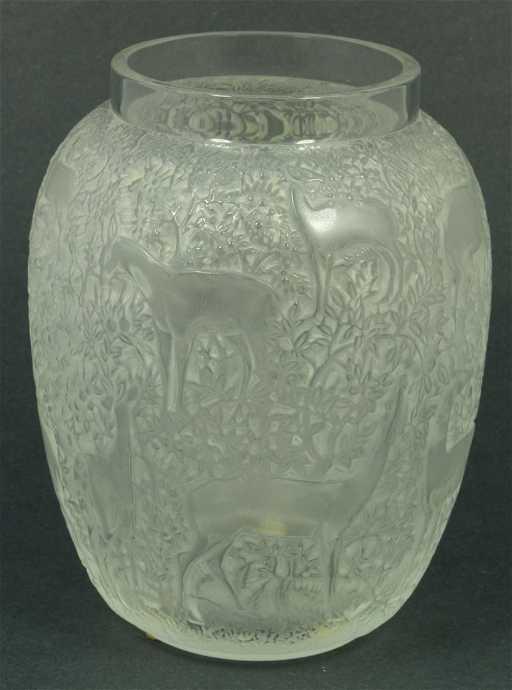 53 Lalique France Crystal Biches Deer Vase