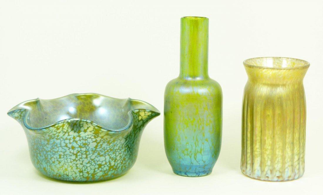 55: 3 LOETZ IRIDESCENT ART GLASS BOWL & VASES