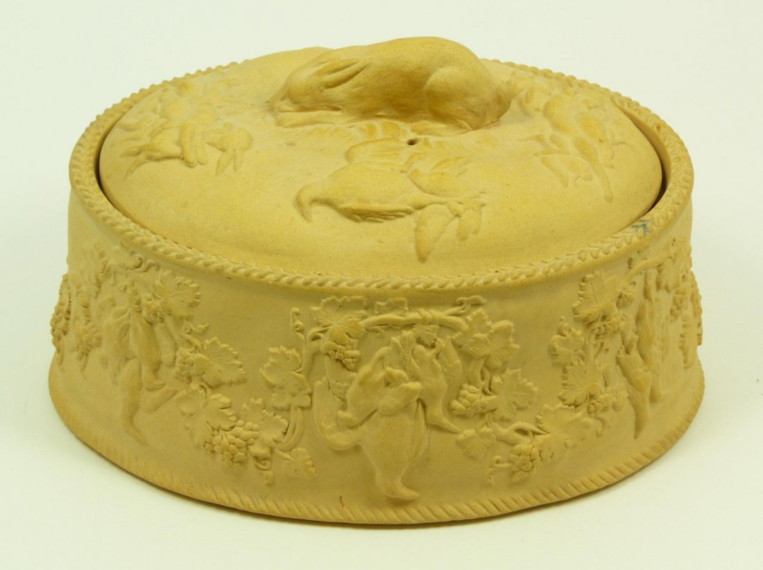 56: WEDGWOOD CANEWARE HARE GAME PIE DISH & COVER