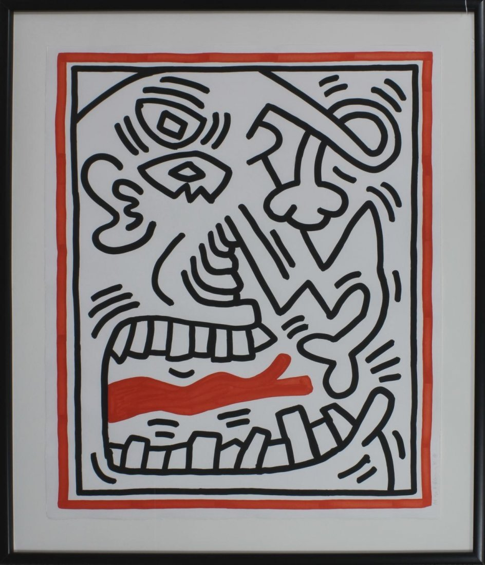 64: KEITH HARING ARTIST PROOF SERIGRAPH RED TOUNGUE
