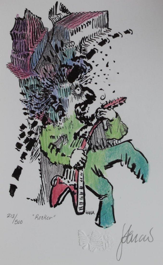 65: JERRY GARCIA 'ROCKER' LITHOGRAPH SIGNED