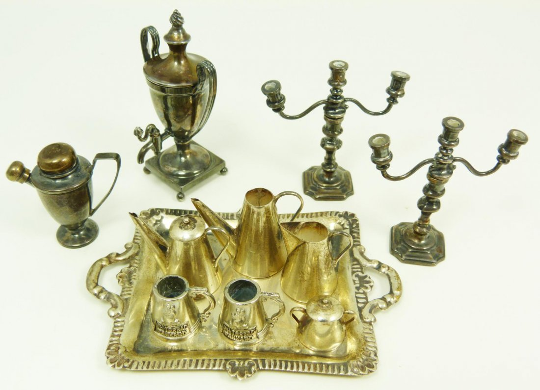 146: 11 PIECE LOT OF STERLING SILVER MINIATURE ITEMS