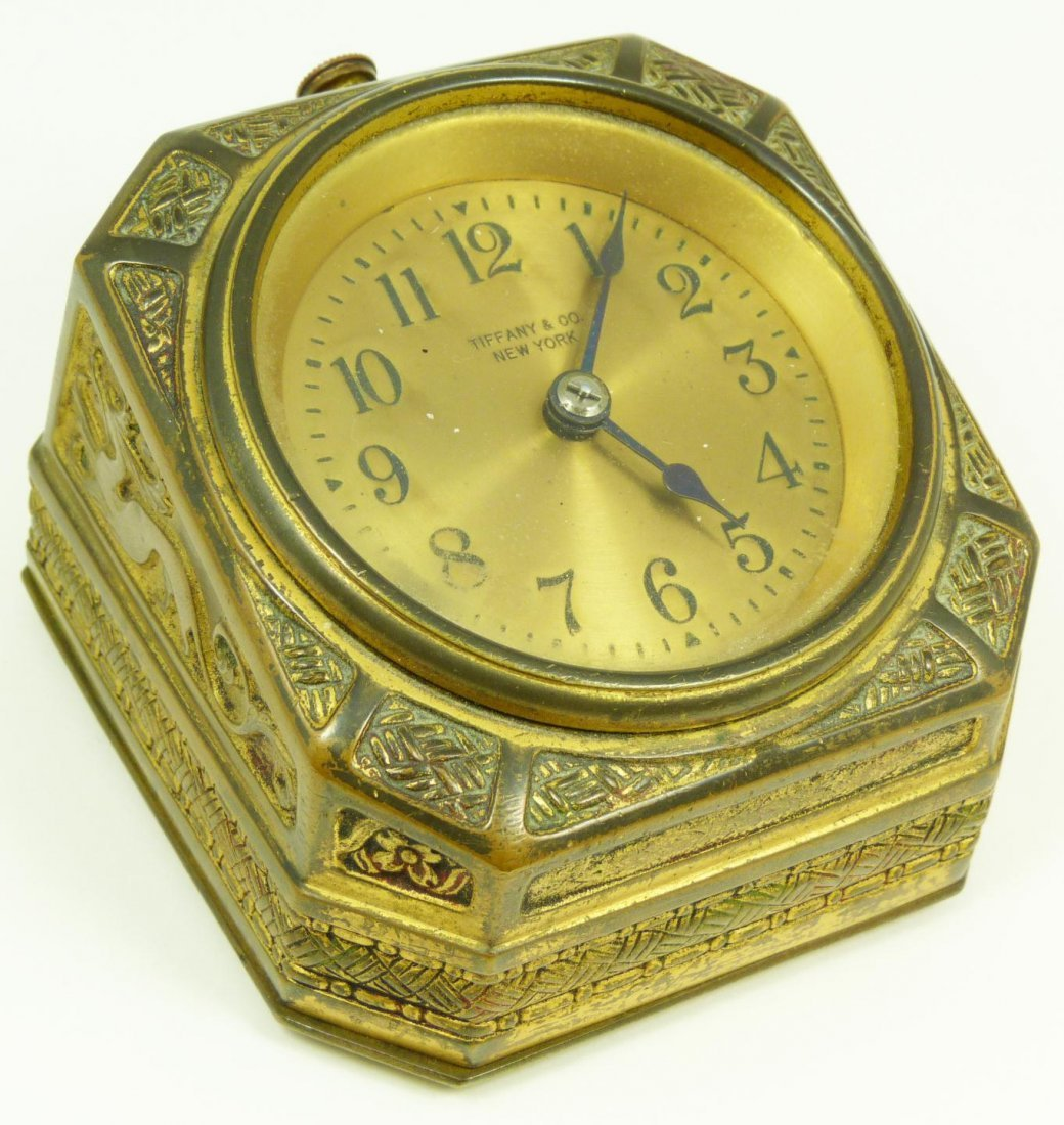 8: TIFFANY STUDIOS SPANISH BRONZE DESK CLOCK