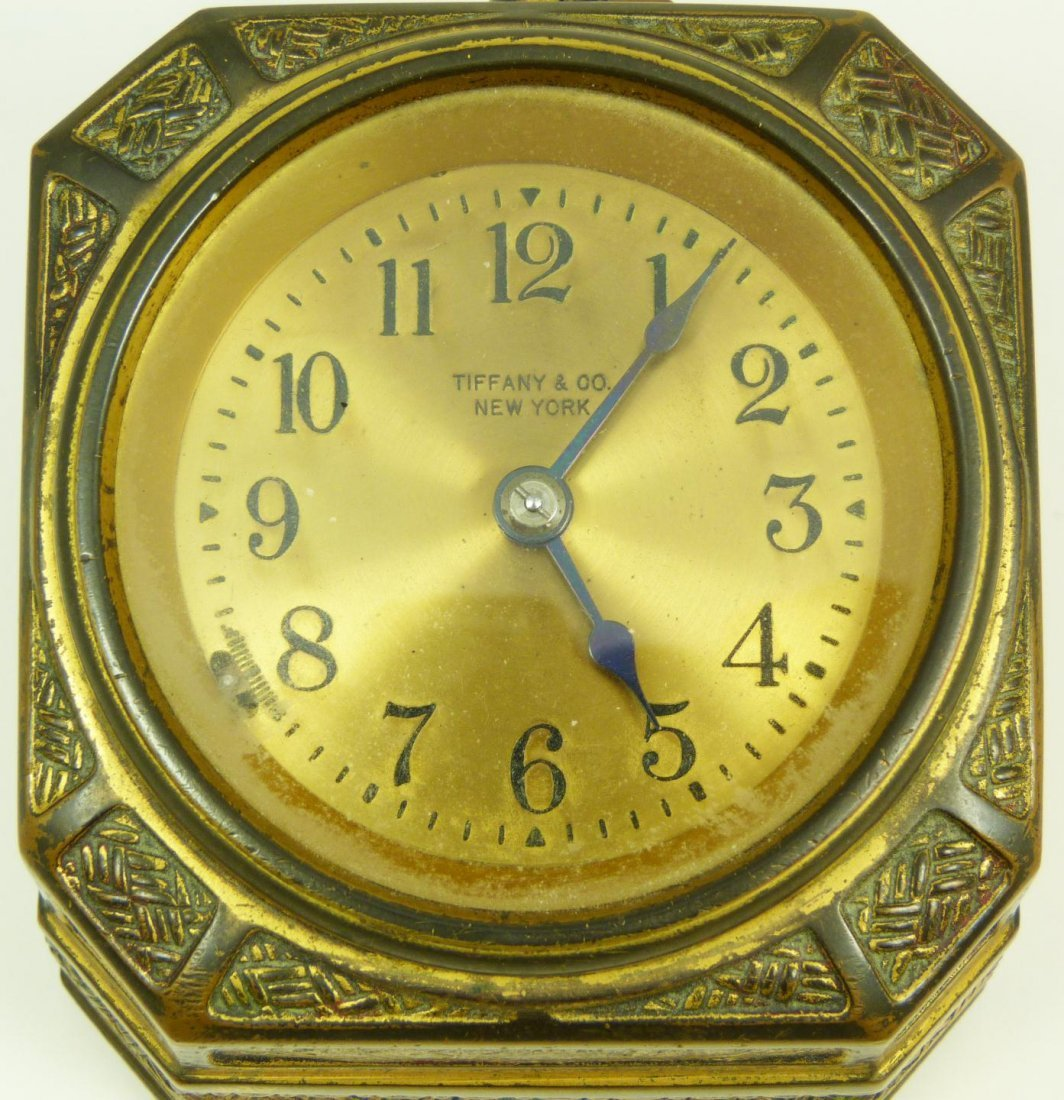 8: TIFFANY STUDIOS SPANISH BRONZE DESK CLOCK - 2
