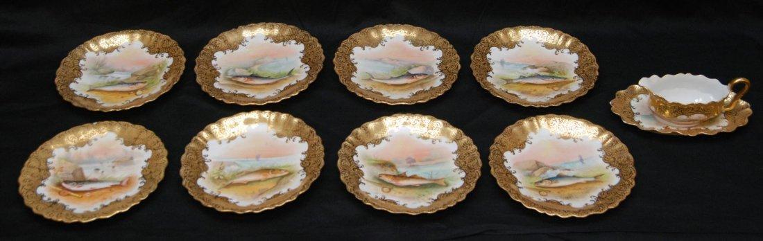 57: 10p ANTIQUE LIMOGES FRENCH PORCELAIN GILT FISH SET