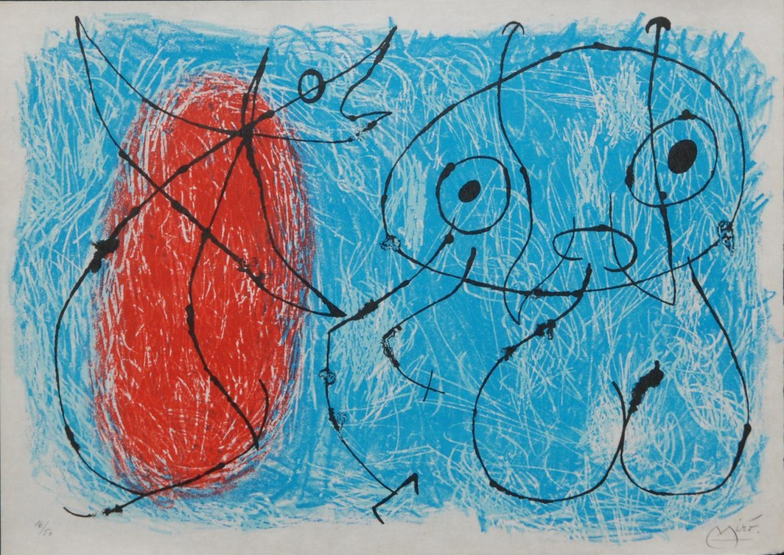 68: JOAN MIRO DRYPOINT IN COLORS ON PARCHMENT PAPER