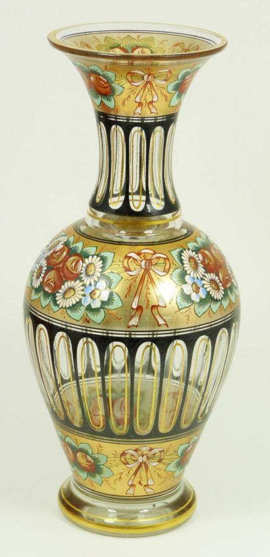 4: BACCARAT FRENCH ENAMELED CRYSTAL VASE