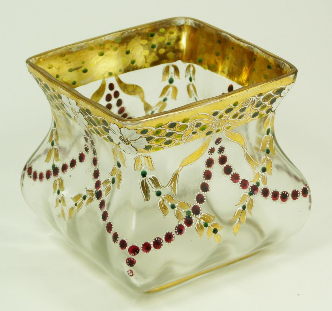 6: BACCARAT FRENCH FLORAL ENAMELED SQUARE VASE
