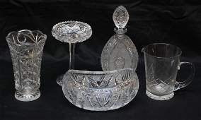 92: 5 PIECES OF ASSORTED CUT CRYSTAL ITEMS