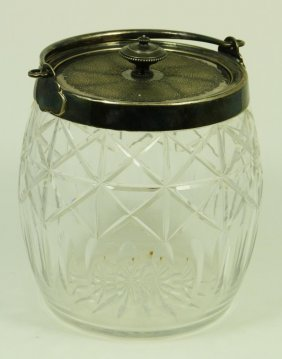 BACCARAT FRENCH CUT GLASS SILVERPLATE CANISTER