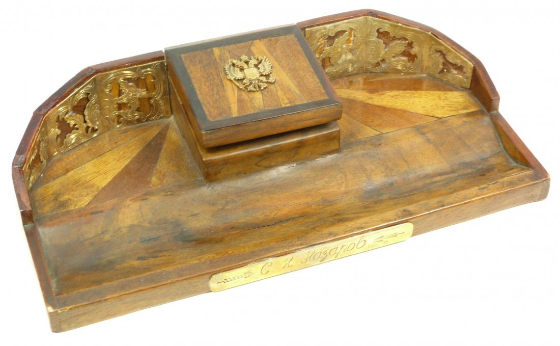 108: RUSSIAN WOODEN INKWELL WITH SILVER APPLIQUE