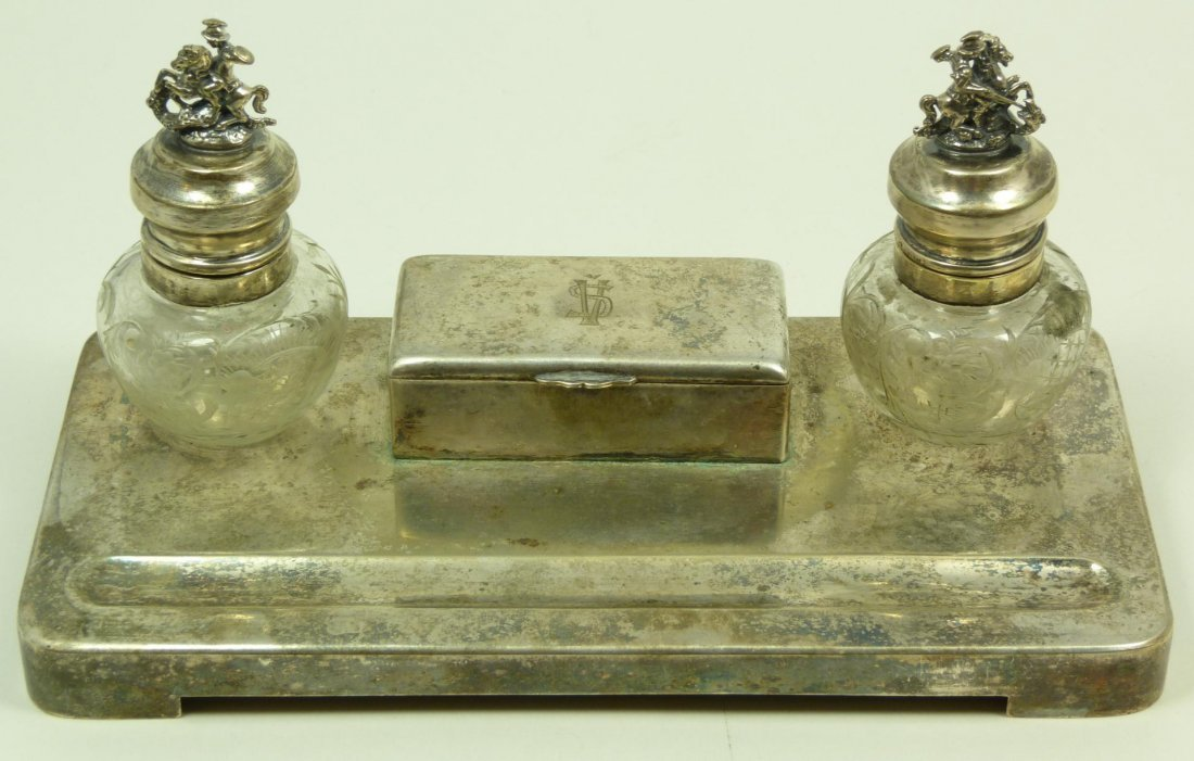 109: SILVERPLATE INKWELL WITH CRYSTAL & SILVER WELLS