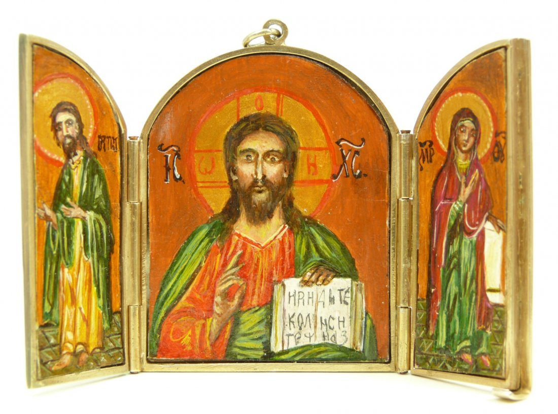 112: GILDED RUSSIAN SILVER RELIGIOUS TRIPTYCH