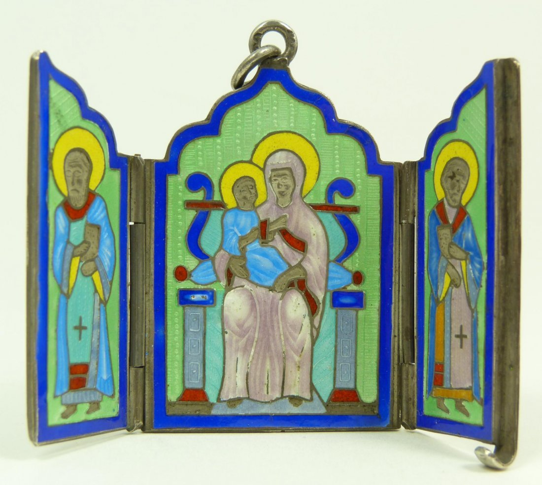113: RUSSIAN ENAMELED SILVER RELIGIOUS TRIPTYCH