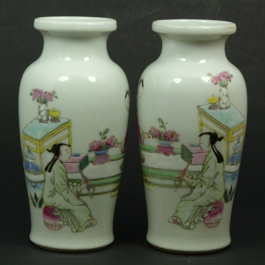 509: Pr 18th C CHINESE PORCELAIN MAIDENS VASES