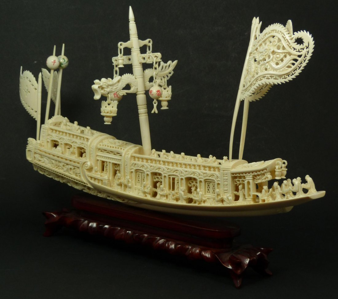 755: LARGE CHINESE HAND CARVED IVORY JUNK BOAT