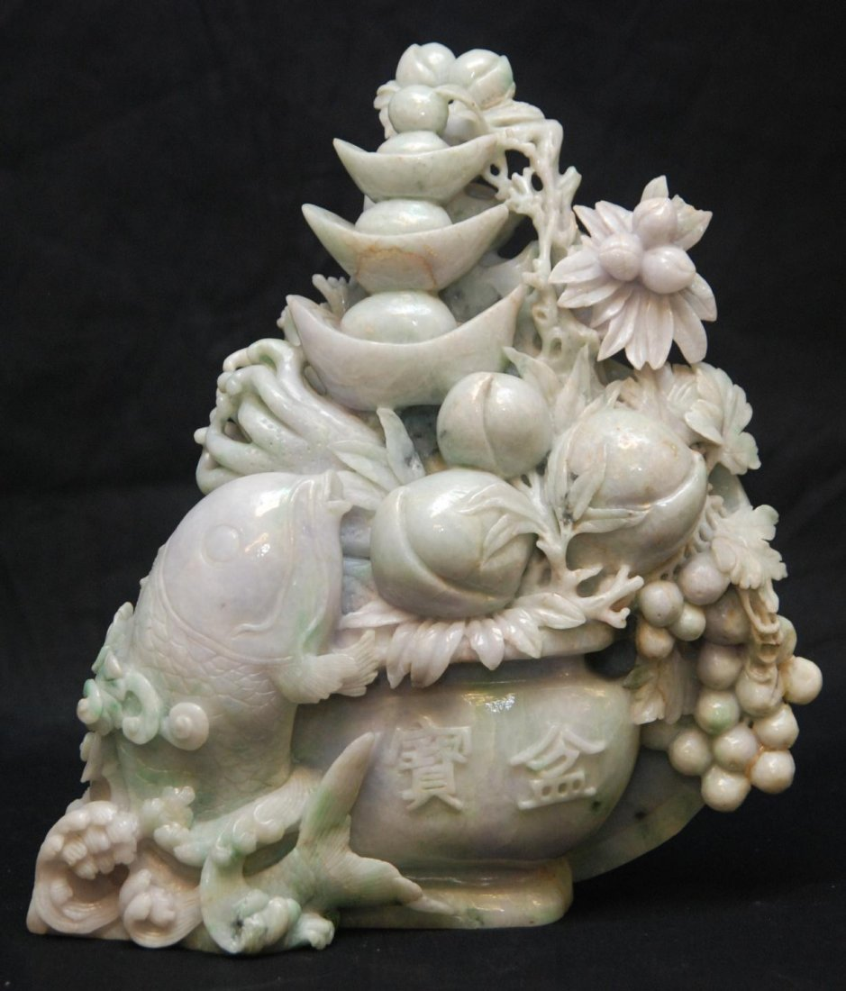518A: LARGE CHINESE CARVED LAVENDER JADEITE GROUP FIGUR