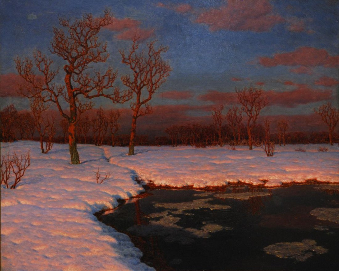 96: IVAN CHOULTSE OIL ON CANVAS SUNSET SNOW LAKE SCENE