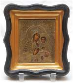 245 19th C RUSSIAN SILVER ICON OF MADONNA AND CHILD