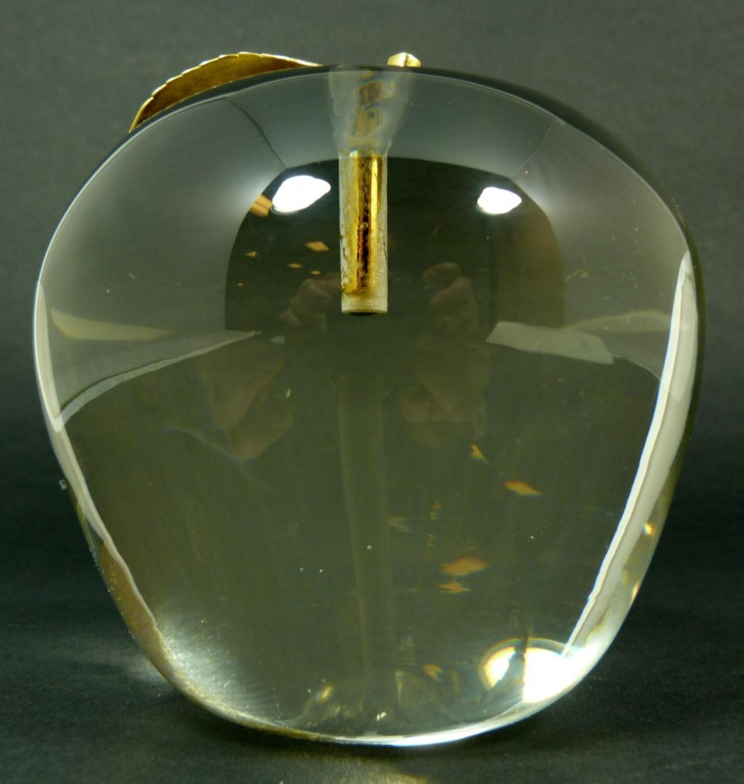 281: VINTAGE CARTIER CRYSTAL & GILT APPLE PAPERWEIGHT - 3