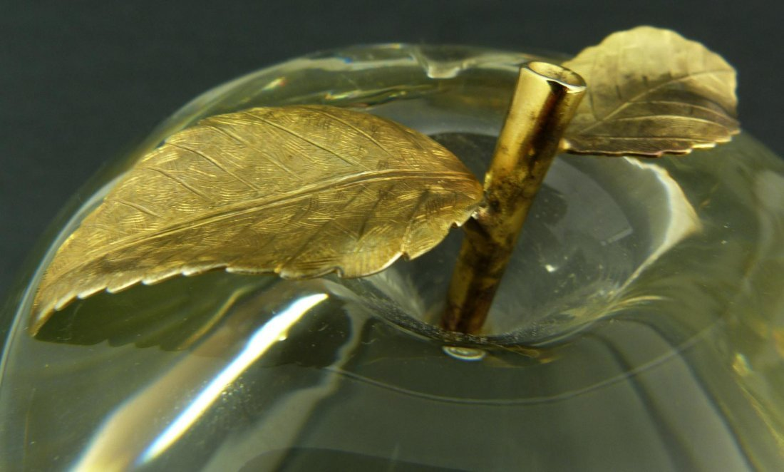 281: VINTAGE CARTIER CRYSTAL & GILT APPLE PAPERWEIGHT - 4