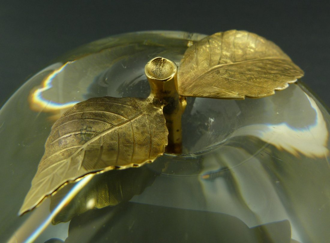 281: VINTAGE CARTIER CRYSTAL & GILT APPLE PAPERWEIGHT - 5