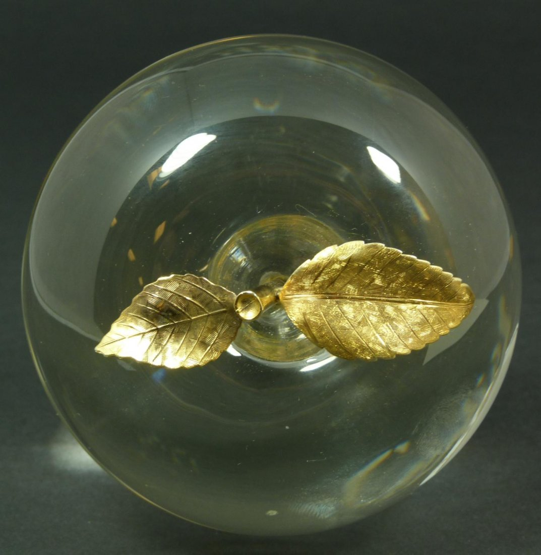 281: VINTAGE CARTIER CRYSTAL & GILT APPLE PAPERWEIGHT - 6