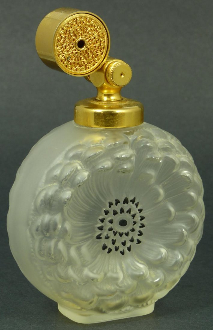 13: LALIQUE FRANCE CRYSTAL DAHLIA PERFUME BOTTLE