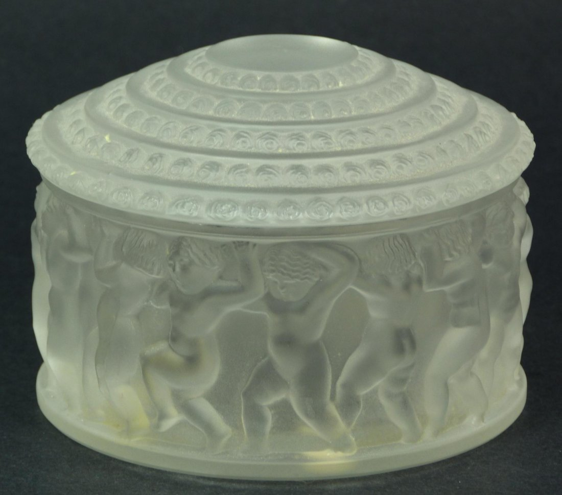 15: LALIQUE FRENCH CRYSTAL ENFANTS POWDER BOX