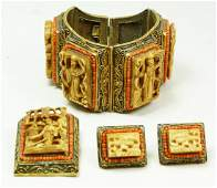 202: CHINESE VERMEIL SILVER BONE CORAL JEWELRY SUITE