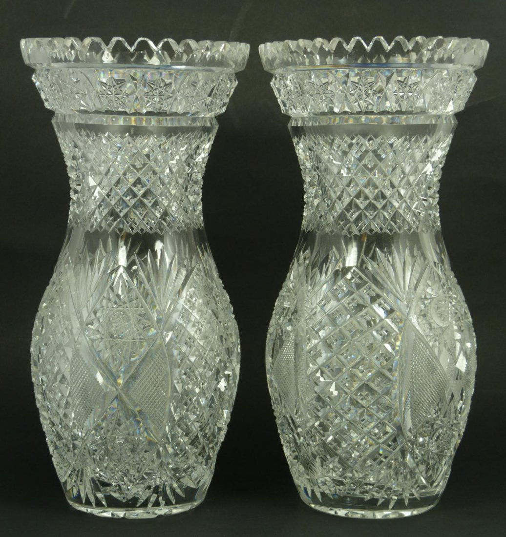 1: PAIR CZECH BRILLIANT CUT CRYSTAL VASES