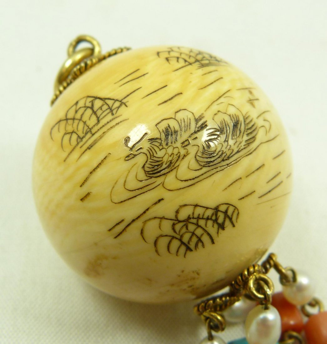 296: ANTQUE CHINESE CARVED IVORY PENDANT SIGNED - 2