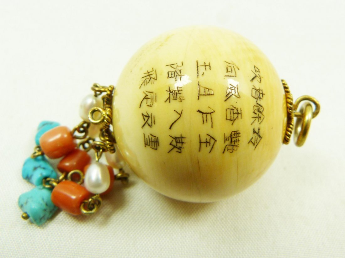 296: ANTQUE CHINESE CARVED IVORY PENDANT SIGNED - 4