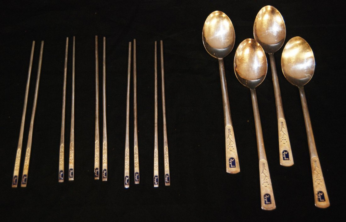 3: 14pc JAPANESE SILVER SPOON & CHOPSTICK SET
