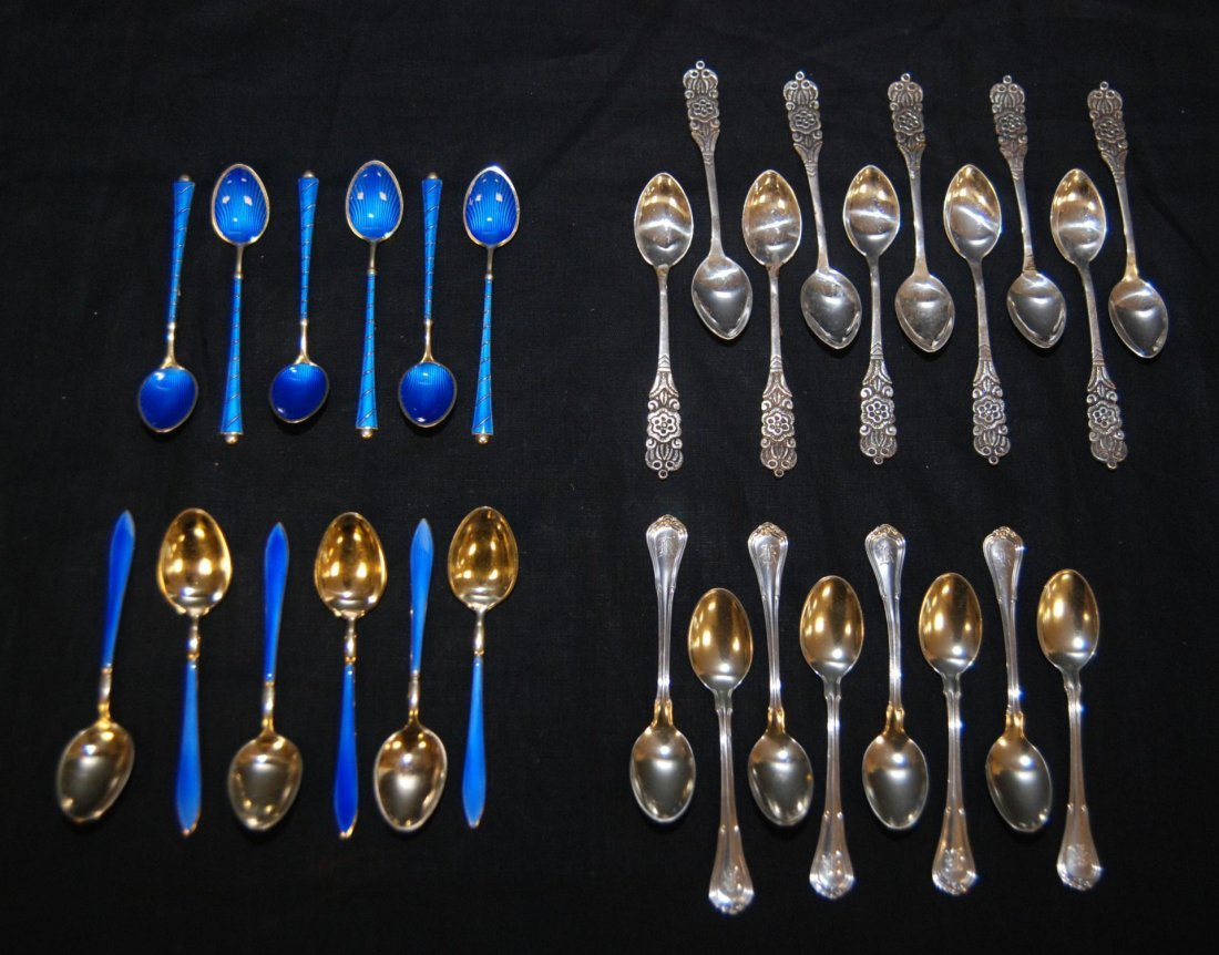 4: 4 SETS OF STERLING SILVER DEMITASSE SPOONS 30pcs