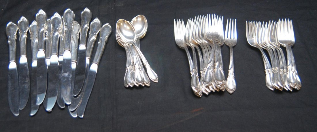 9: 46pc INTERNATIONAL RHAPSODY STERLING FLATWARE SET