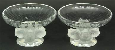 306: PAIR OF LALIQUE FRANCE CRYSTAL NOGENT COMPOTES