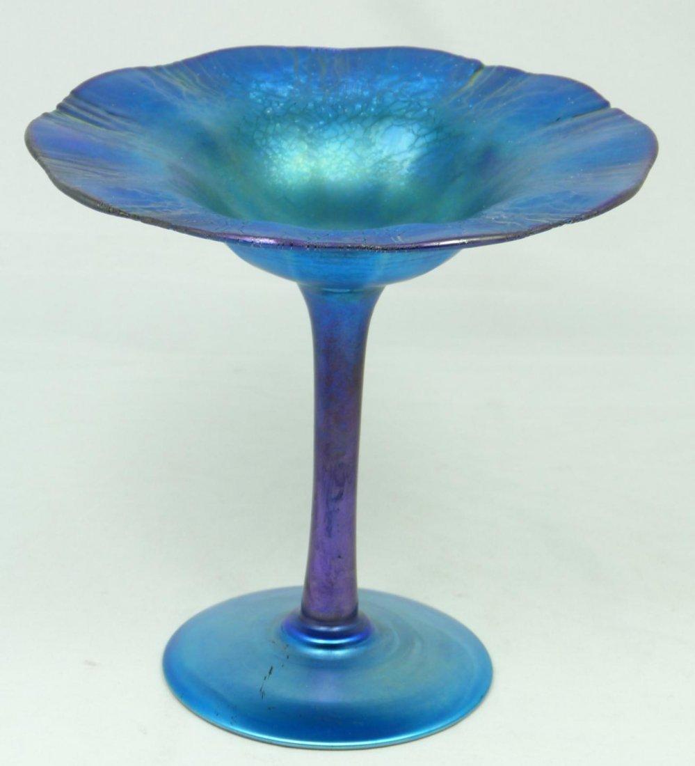 1: L.C. TIFFANY BLUE FAVRILE ART GLASS COMPOTE